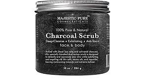 4. Majestic Pure Activated Charcoal Body and Facial Scrub, Natural Skin Care, Face Cleanser - Promotes Skin Whitening, Reduces Acne Scars, Blackheads and Helps Improve Complexion - 10 Oz